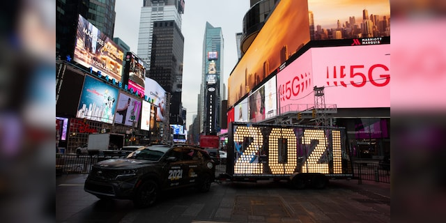 No crowds: Around the holidays at this time of year, the streets of Times Square are packed with people walking side by side.  Without millions of visitors, this year would look a lot different.