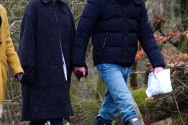 Winter outing: Taylor Swift and Joe Alwyn looked adorable as they were holding hands during a stroll in London on Monday