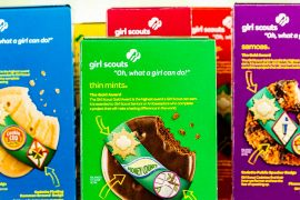 Adorable Girl Scout cookie sales are spread out in front of the doorbell camera