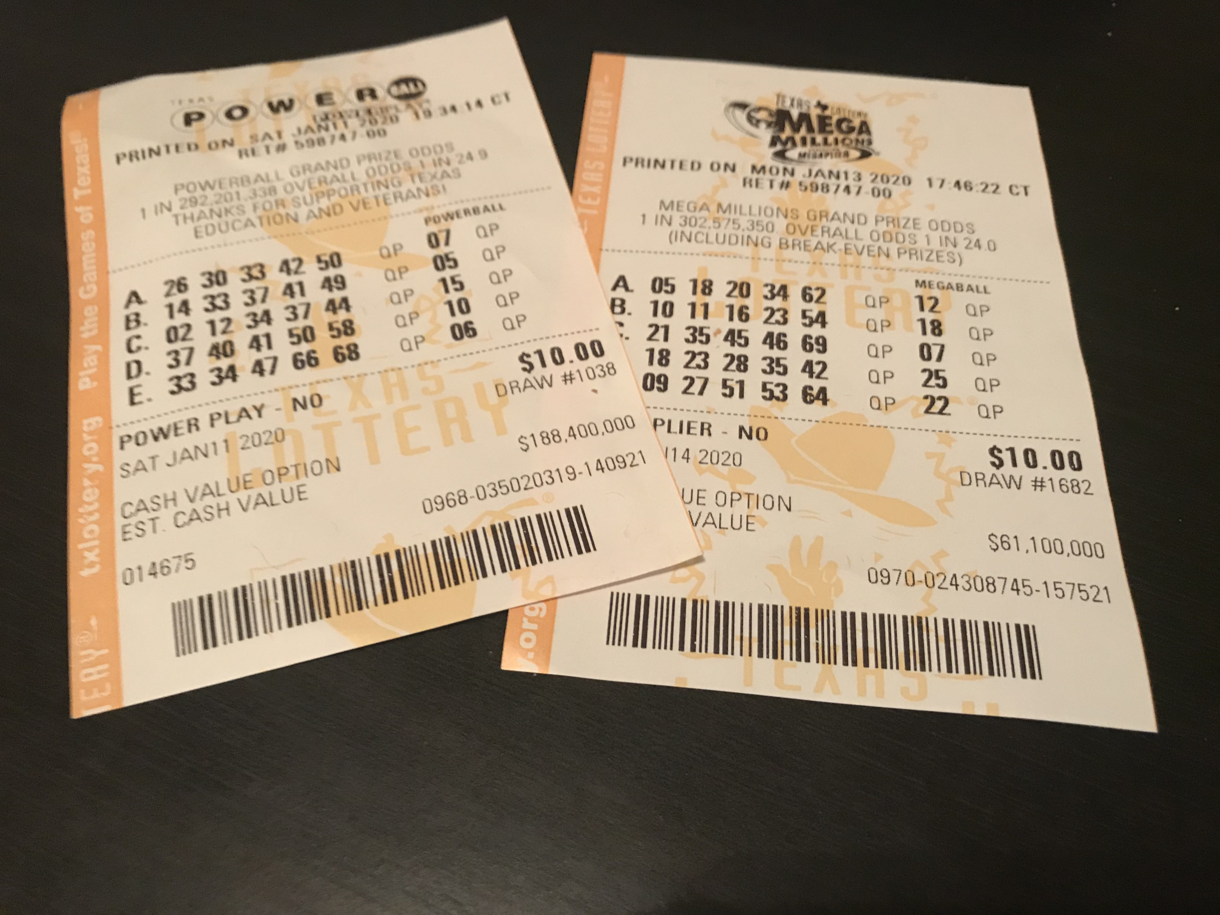Powerball and Mega Millions Tickets