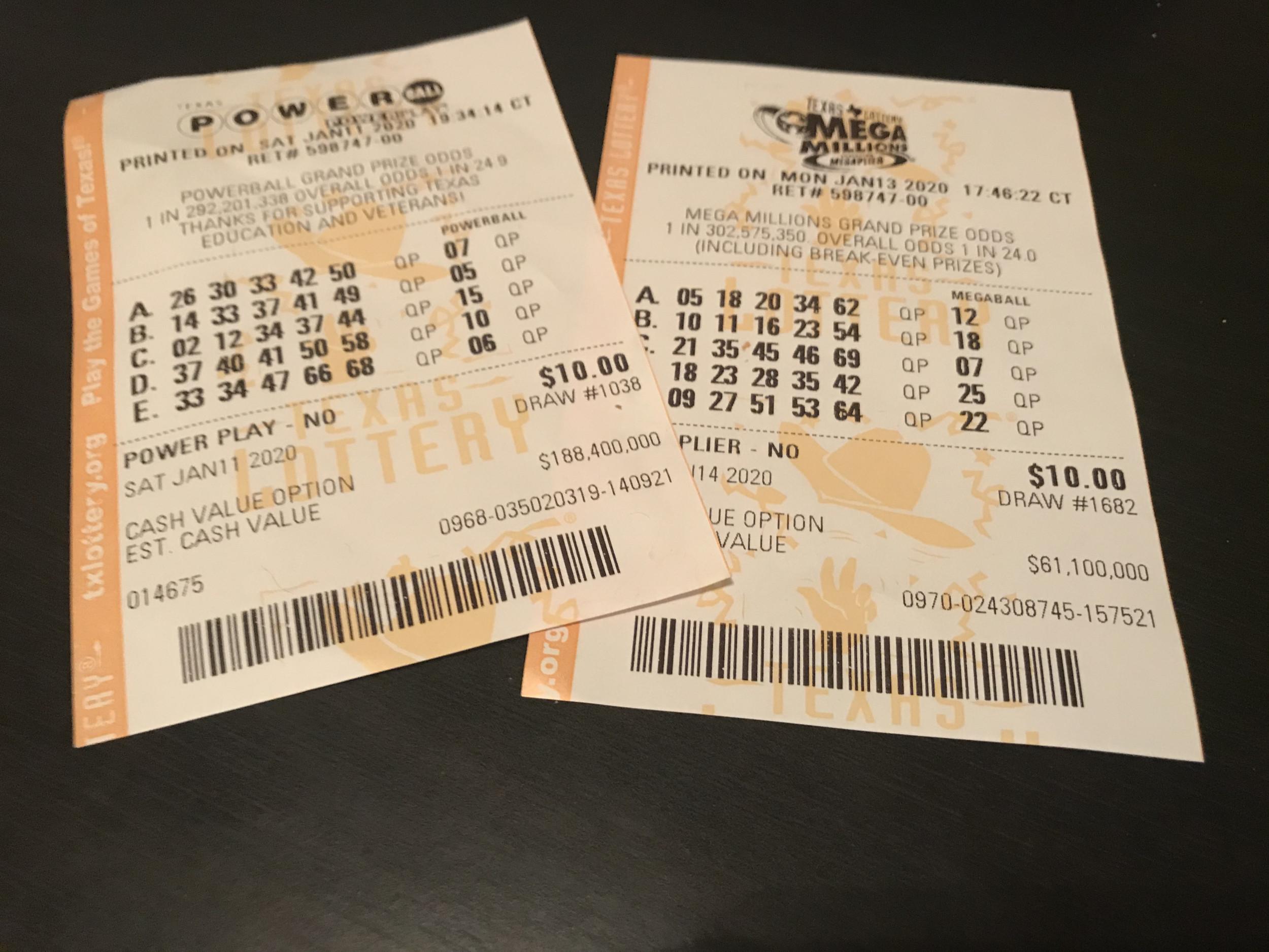 Powerball and Mega Millions Tickets