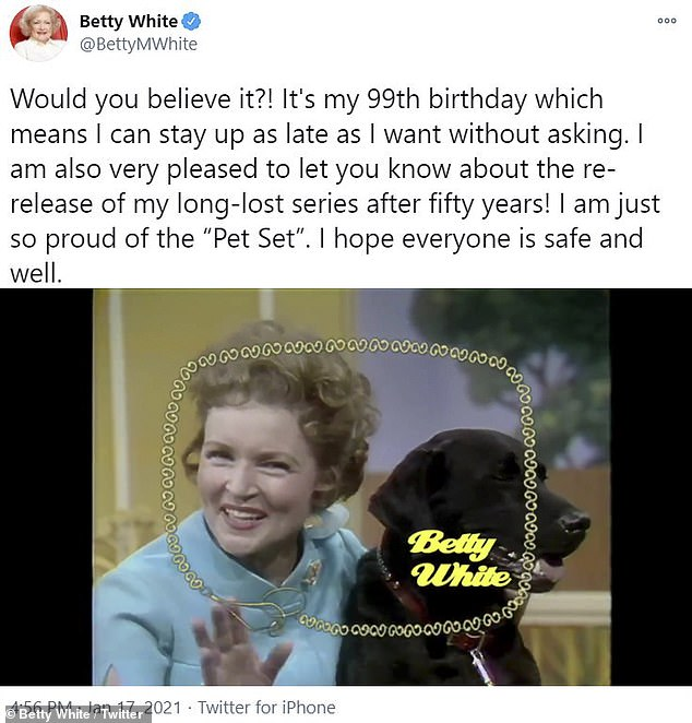 50 years later: The birthday girl took to Instagram with another throwback, celebrating the feat by re-releasing her animal-friendly talk show The Pet Set in 1971
