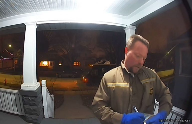 A UPS worker seen in racist ranting footage has been fired while being delivered to a Latin home