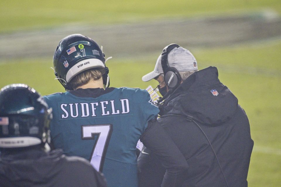 Philadelphia, Pennsylvania - January 3: Philadelphia Eagles Quarterback Nate Sudfield (7) discusses a play with Philadelphia Eagles coach Doug Pederson during the match between the Washington soccer team and the Philadelphia Eagles on January 3, 2021 at Lincoln Financial Stadium in Philadelphia, Pennsylvania.  (Photo by Andy Lewis / Icon Sportswire via Getty Images)
