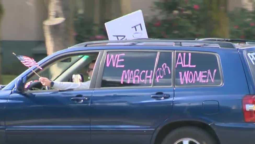 Dozens gather in a caravan, a virtual women's rally in Sacramento