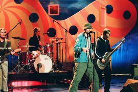 THE TONIGHT SHOW WITH JAY LENO -- Episode 1538 -- Pictured: (l-r) Bradley Fernquist, Josh Freese, Gregg Alexander, Sasha Krivtsov of musicial guest The New Radicals perform on February 3, 1999 -- (Photo by: Joey Del Valle/NBCU Photo Bank/NBCUniversal via Getty Images via Getty Images)